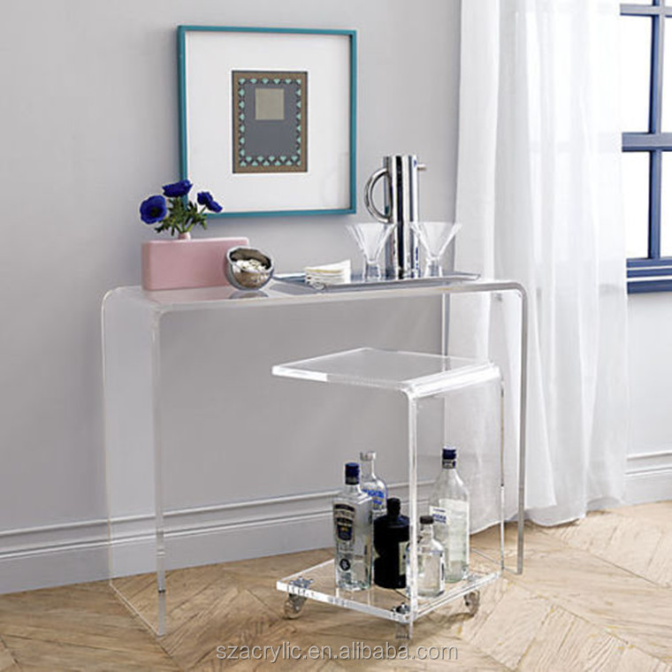 hight quality acrylic desk small side table with wheel