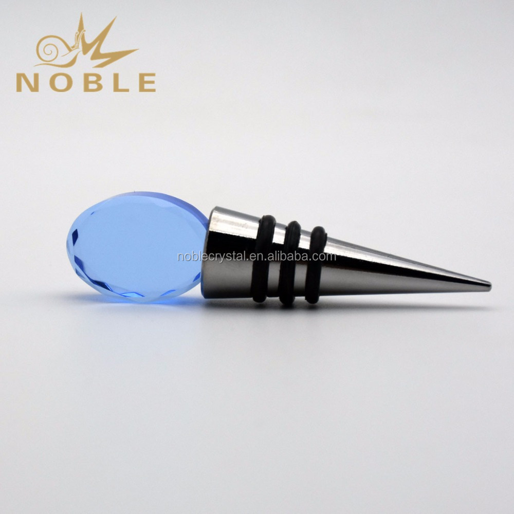 Noble Blue Blank Folk Craft Crystal Wine Stopper for Wine Lovers