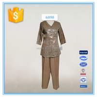 ladies formal embroidery with sequins pant suit