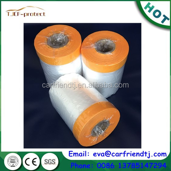 Manufacturer HDPE pretaped auto paint masking film with crepe paper masking tape