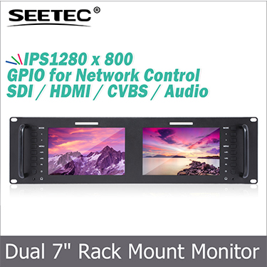"FEELWORLD Triple 5"" 2RU 800x480 LCD Rackmount Video Monitor HDMI SDI broadcasting equipment"