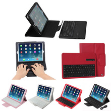 Litchi design detachable bluetooth keyboard leather tablet cover case for iPad Air 2