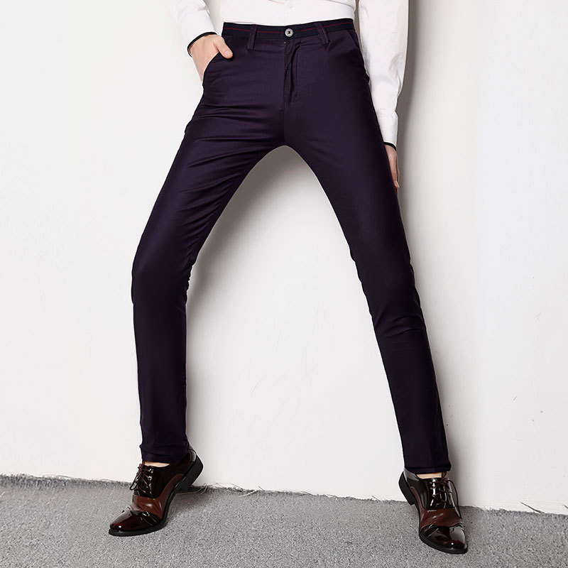 TE33 foreign trade explosion section thin section of men 's casual pants feet long pants men stretch Slim pants young Korean ver