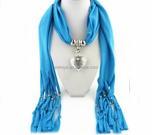 2016 high quality heart shaped pendant Personalized beaded scarf necklace