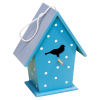 Handcrafted customized decorated colorful blue small wooden bird house