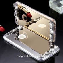 Luxury Diamond Mirror Case For iPhone 6 6s / Plus / 5 5s Handmade Rhinestone Crystal Soft TPU Frame Cover for Iphone6 s Plus