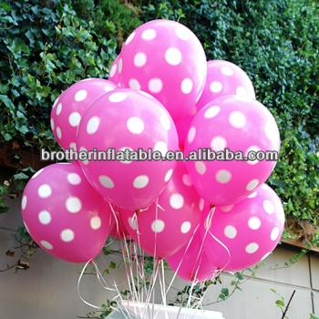 "Pink Polka Dot Set of 12"" Qualatex Latex Balloons"