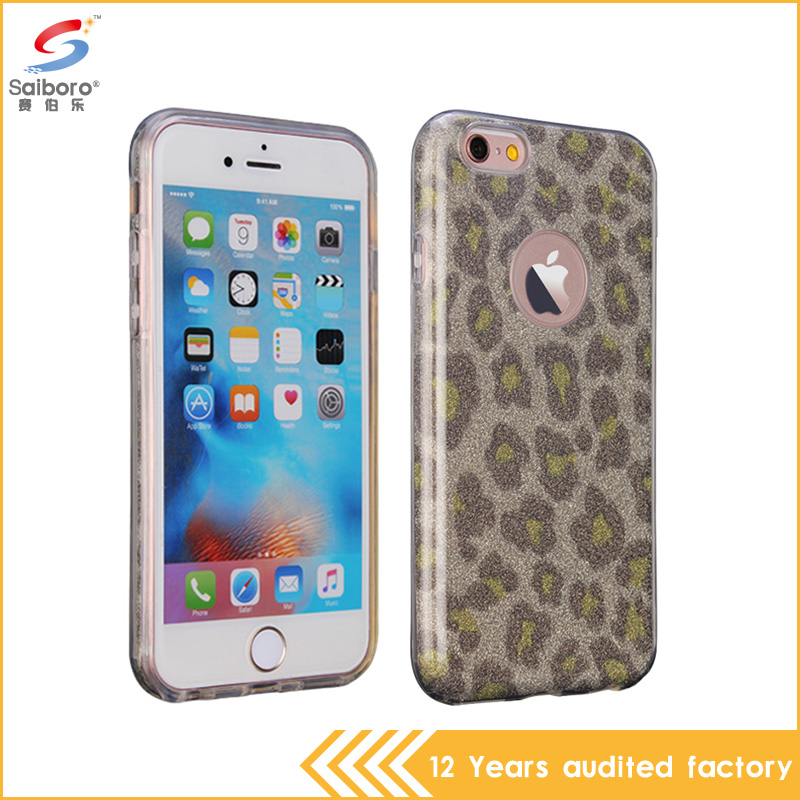 Leopard print glitter powder with fashion phone case for iphone 6 6s 6plus