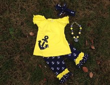 2-7t girls anchor July 4th outfit short sleeves yellow suit girls summer outfits set with matching necklace and headband