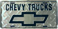 Chevrolet Chevy Trucks Silver Embossed Diamond Wholesale Metal Novelty License Plate Tag Sign 2457