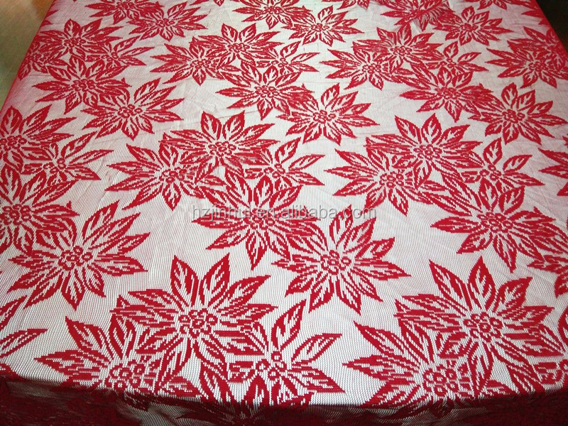 Festive Holly Poinsettia Christmas Red Flower Floral New Lace Tablecloth lace fabric Home Table Linen