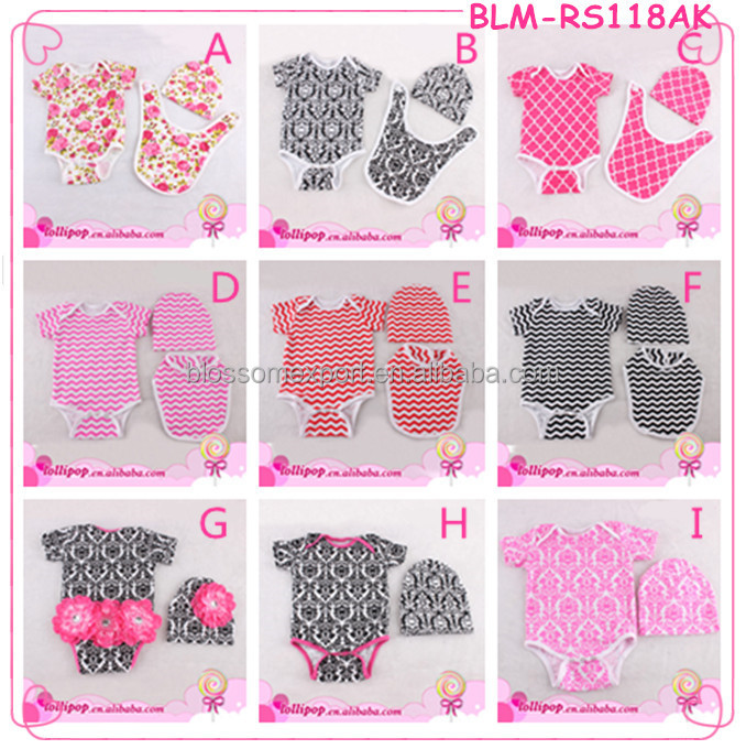 Chevron boy&girl romper set cotton wholesale 0-24M baby bodysuit plain