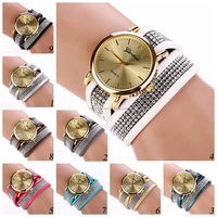 SWH0684 new design leather rhinestone wrap fashion lady watch bracelet watch for girl