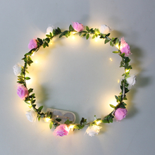 Girls Flower Crowns LED Wreath Flower Artificial Flower Head band Artificial Wreaths Wholesale