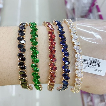 Xuping hot sale rainbow stones fashion jewelry gold plated colorful zircons women tennis bracelets