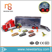 Portable baby toys sell hot cheap plastic toy trucks with mini dinosaur toys