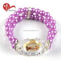 HN15E087 New products purple imitation pearl elastic cord bracelet rosary