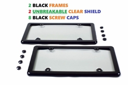 2 UNBREAKABLE Clear License Plate Shield Covers