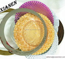 Hot gold and sliver 13 inch beaded wedding glass under charger plates wholesale