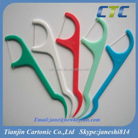 Different Colors Plastic Dental Floss Toothpicks
