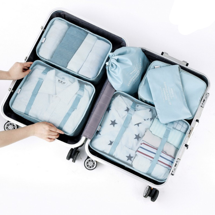 Fast <strong>Delivery</strong> 7 Set Packing Cubes 3 Travel Cubes 3 Pouches Bags With 1 Shoe Bag Travel Luggage Compression Organizers