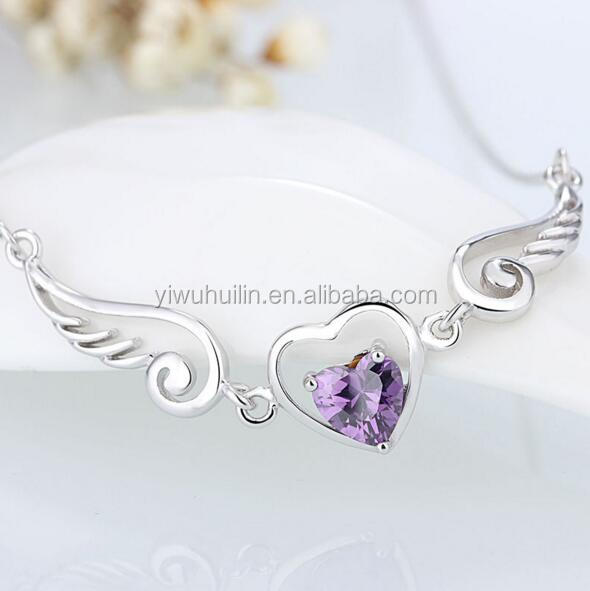 YFY107 Yiwu Huilin Jewelry Crystal Heart Shape Necklace Angle Wing Women's Necklace