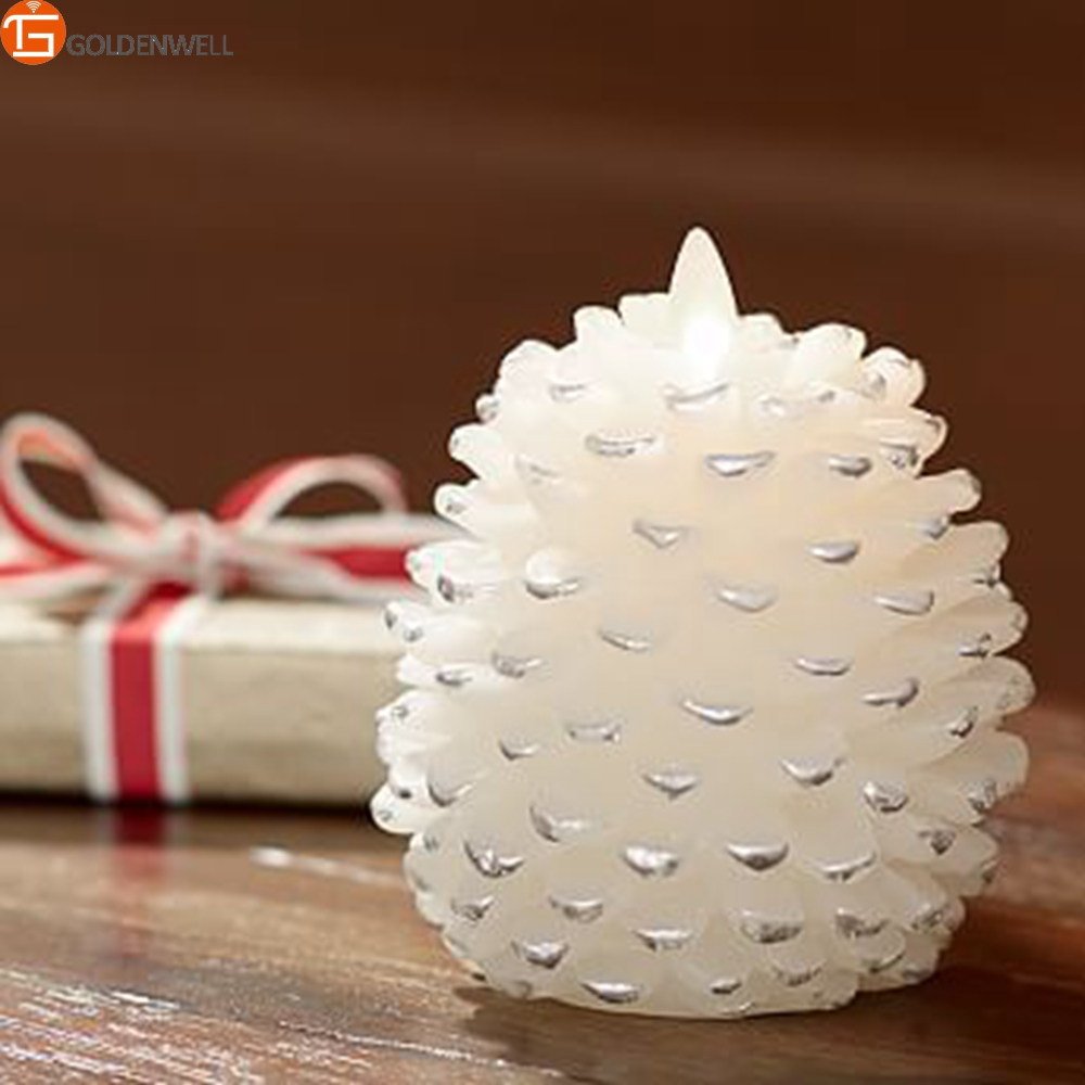 Luminara Dancing Flame Paraffin Wax Pinecone Pillar Candle