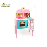 Pink Wooden Play Kitchen Set For