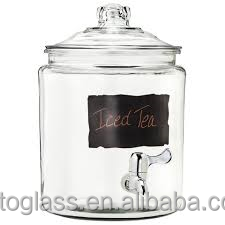 Drink glass water dispenser with black board decal