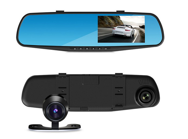Manufactuer 4.3 inch tft lcd screen + rearview mirror + dual cameras car dvr Record mirror