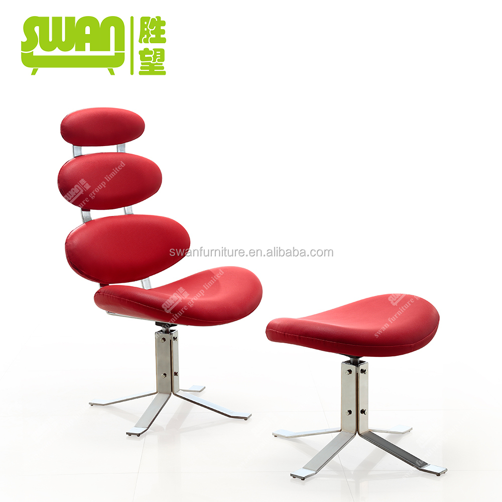 2052 Corona chair replica red lounge chair with ottoman