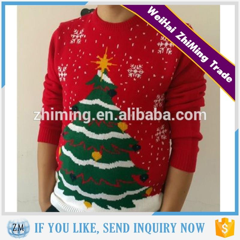 Long Sleeve Tree Pattern Christmas Sweater For Men