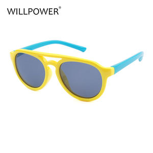 Italy design polarized flexible silica gel kids round cycling sun glasses