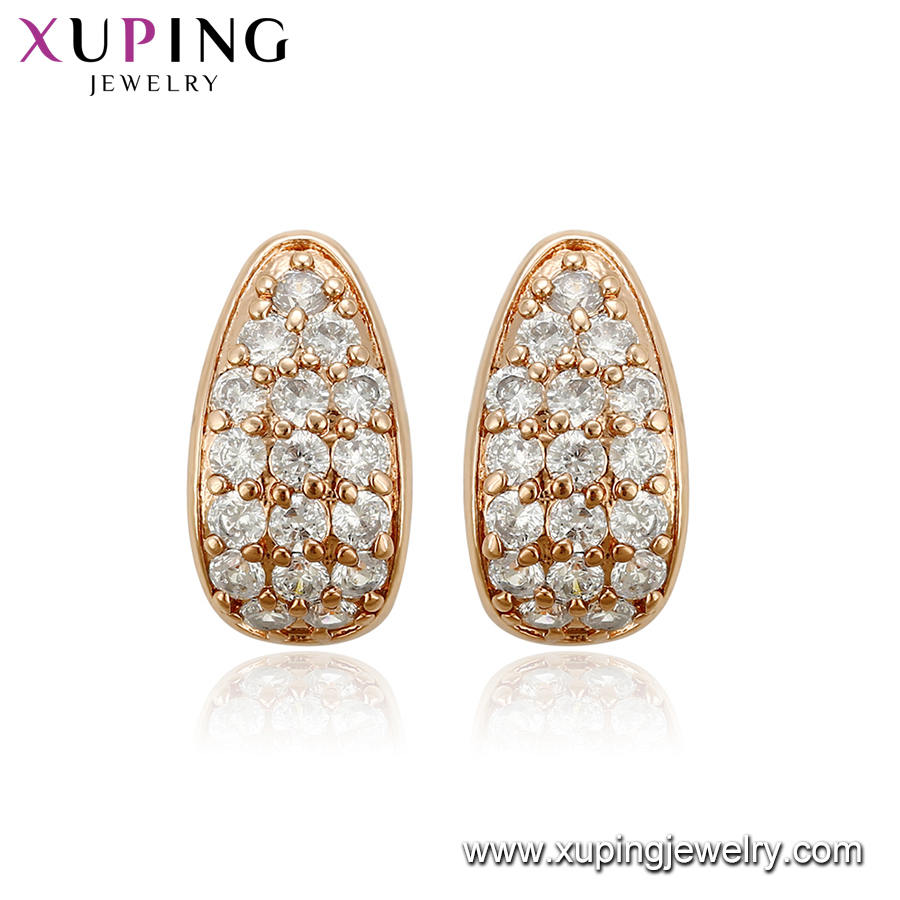 95417 Xuping promotion cheap and fine ladies jewelry zircon pave set rose gold stud earrings
