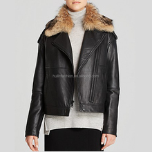 leather fabric with removeable plush fur collar long sleeves jacket zip cuffs women's winter coats