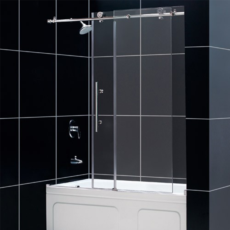 Black Framed Tempered glass sliding shower room door
