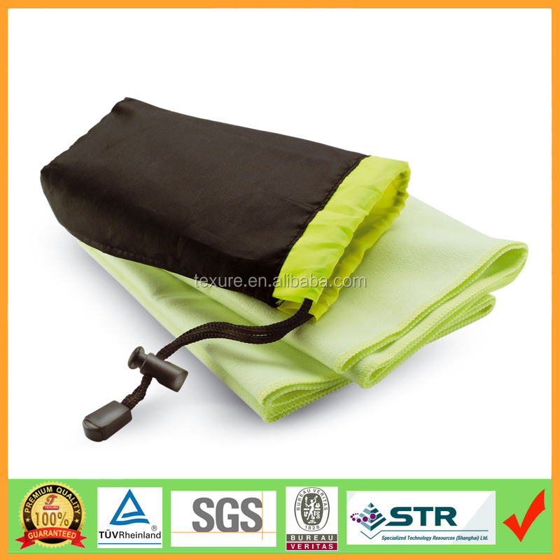 Alibaba hot sale Custom microfiber towel with mesh bag for gifts