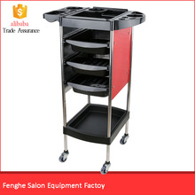 Beauty portable stainless steel salon trolley red color salon trolley