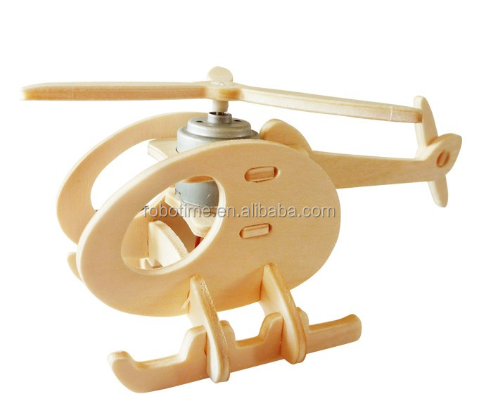 Wholesale DIY environmental educational 3D wooden puzzle solar toy helicopter