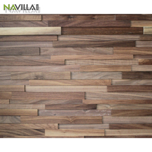 3D Effect Solid Black Walnut Wood Wall Panel for interior decoration