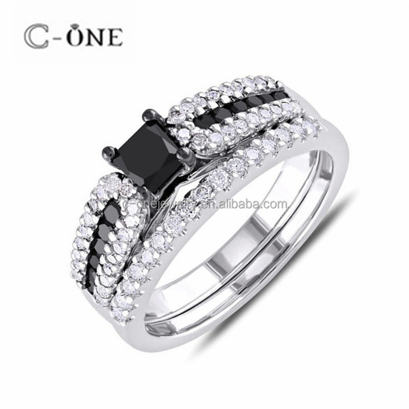 China Manufacture Princess Cut Black CZ Rhodium Plated Cubic Zirconia Rings