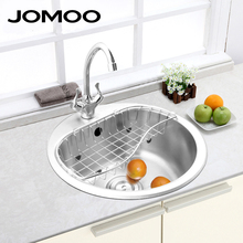 JOMOO round kitchen sink Brush finish double bowl kitchen sink stainless steel sink