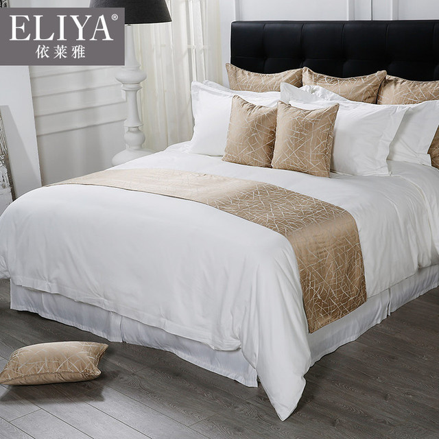 Thick cotton white bed sheets for 5 star luxury hotels ,wholesale white hotel grade full sheet set