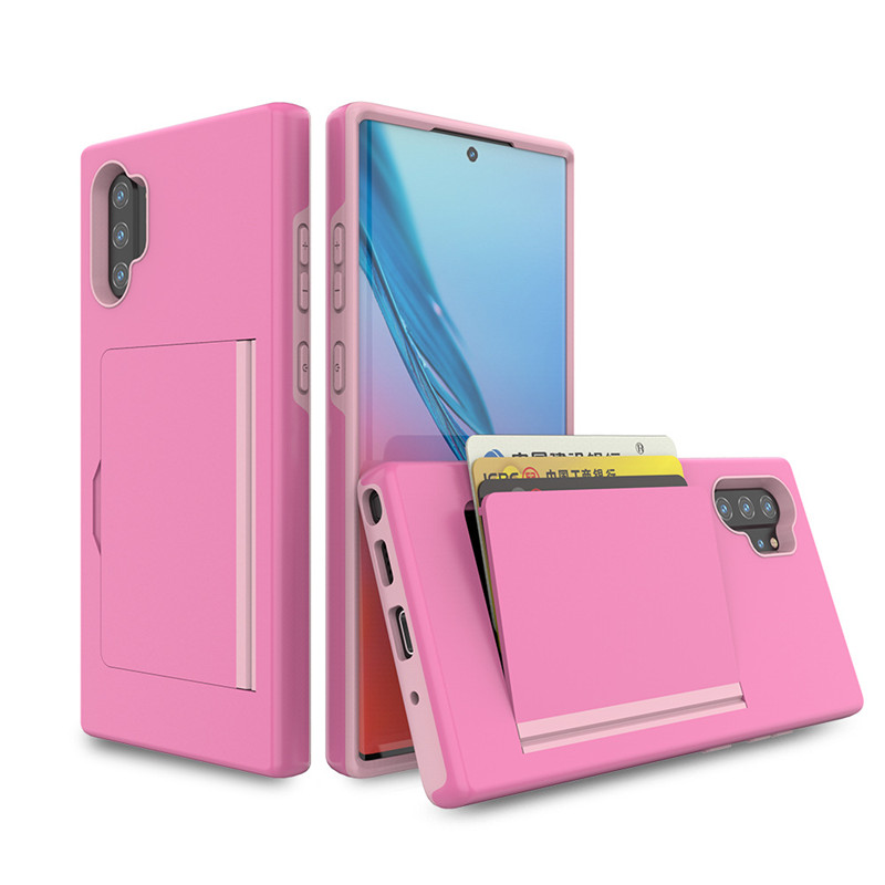 Card Slot Card Holder Case Wallet Dual Layer Slot Cases Soft TPU Hard PC Shockproof Cover for Samsung Galaxy Note 9 Note <strong>10</strong> <strong>pro</strong>