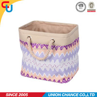 purple wavy printing polyester dirty canvas laundry bag with handles