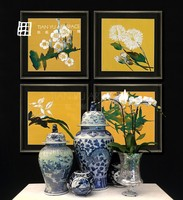 Nature wooden decoration furniture modern flower oil painting home decoration accessories