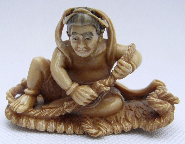 Mammoth Netsuke - Man with Rope