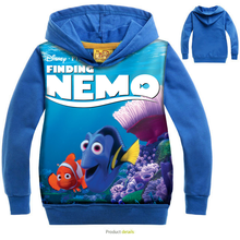 Kids blue Cotton Hoodies printing Finding Dory children autum coat cotton fabric hoody 2016