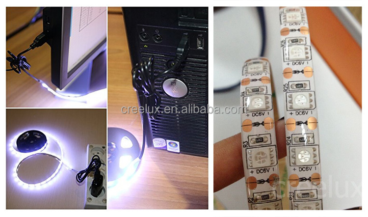 5V SMD5050 USB strip light kit usb controlled led strip light with mini in-line controller