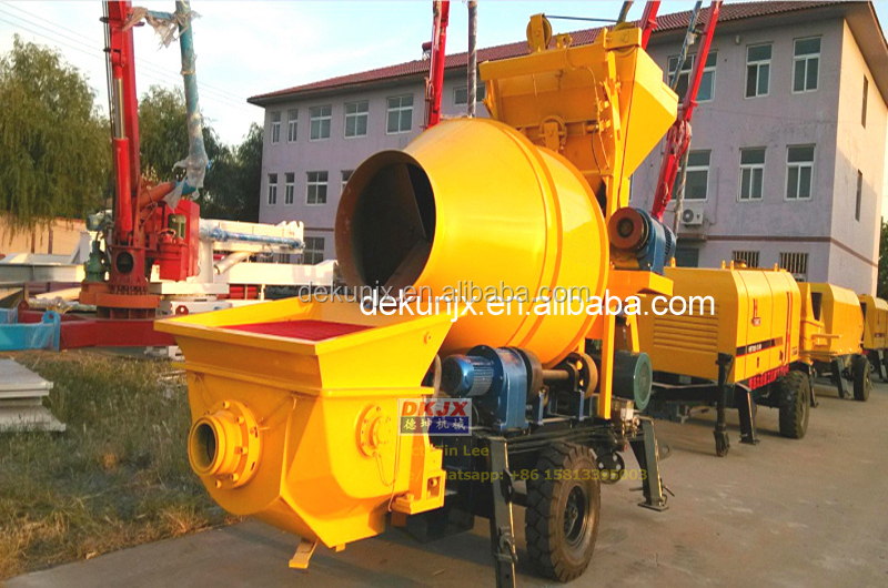 Building Construction Stone 30m3/h 450L Capacity DK30-8-30 Mobile Concrete Mixer Pump For Sale